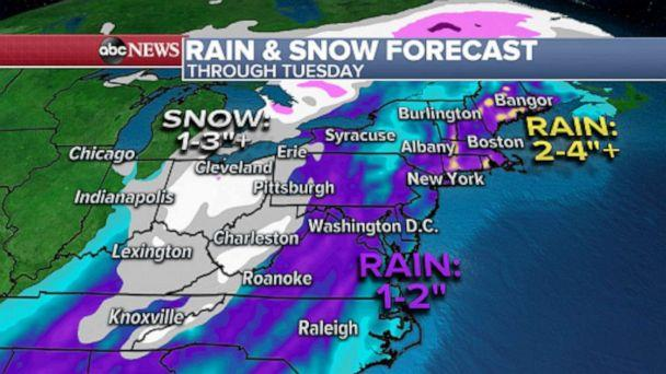 PHOTO: Moderate to heavy snow is also possible over parts of the Midwest and Central Appalachians through Tuesday. (ABC News)