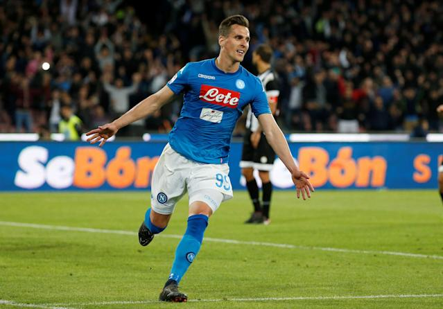 Napoli's Arkadiusz Milik scored his side's winner against Udinese as Juventus stumbled to a draw in Serie A. (Reuters)