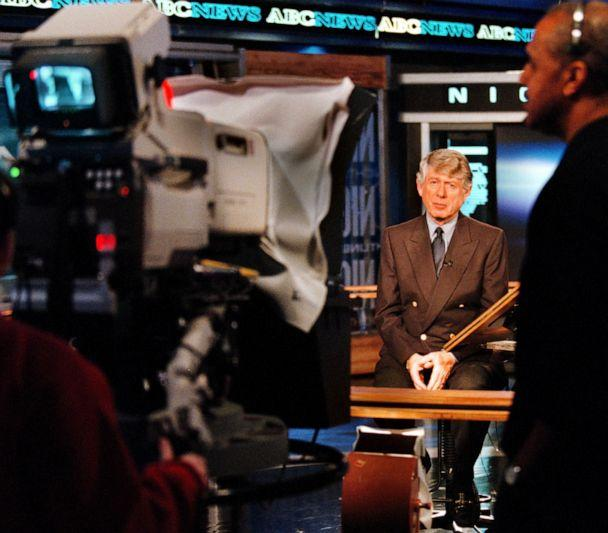 PHOTO: Ted Koppel is seen on set of ABC's 'Nightline,' March 14, 2000. (The Washington Post via Getty Images, FILE)