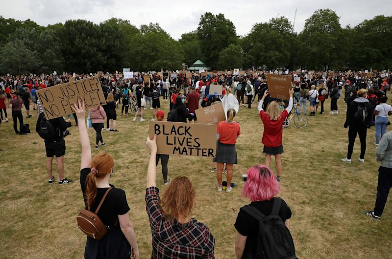 <strong>Protesters take part in a demonstration on Wednesday, June 3, 2020, in Hyde Park, London.</strong> (Photo: ASSOCIATED PRESS)