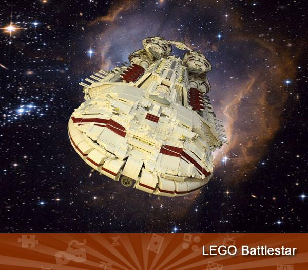 LEGO BATTLESTAR -- Over six feet long and weighing a galaxy-crushing 56 pounds, this intricately detailed Lego creation could have flown straight out of a Battlestar Galactica special-effects sequence. Indeed, it's so big and heavy that the rear engines snapped off while under construction, forcing creator Garry King to add timber and steel internal supports.