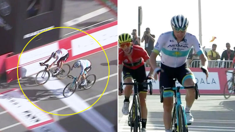Tadej Pogacar jumps at the line with his bike to take victory from Astana's Alexey Lutsenko who is frustrated.