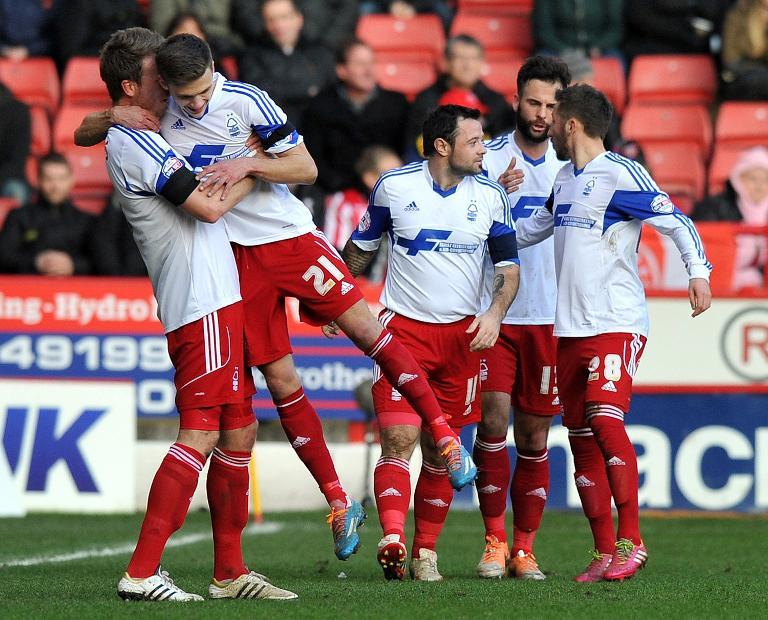 Nottingham Forest players at Bramall Lane in Sheffield on February 16, 2014