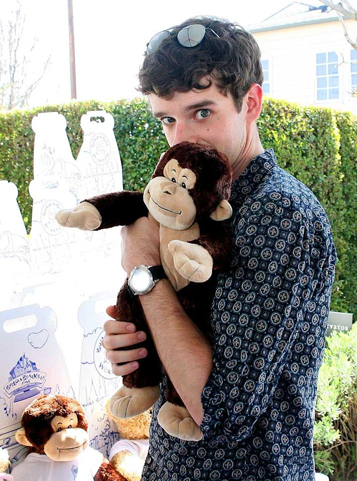 "The hilarious Michael Urie (""Ugly Betty's"" Marc St. James) plays with his monkey. Maury Phillips/<a href=""http://www.wireimage.com"" target=""new"">WireImage.com</a> - March 9, 2008"