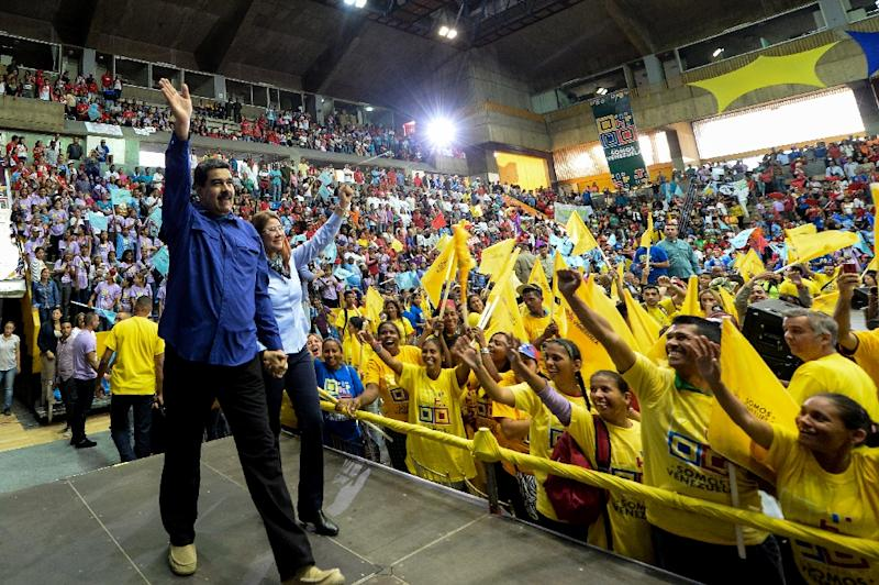 Venezuelan President Nicolas Maduro is almost guaranteed to win the April 22 election, which the opposition has vowed to boycott (AFP Photo/FEDERICO PARRA)