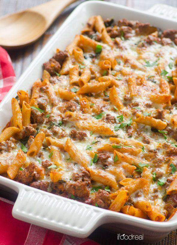 "<p>Life without pasta would downright suck, but luckily, there's healthy ways to enjoy your favorite carb.</p><p>Get the recipe from <a href=""http://ifoodreal.com/low-carb-pasta-bake-with-turkey-kale/"" rel=""nofollow noopener"" target=""_blank"" data-ylk=""slk:iFoodreal"" class=""link rapid-noclick-resp"">iFoodreal</a>.</p>"