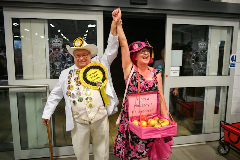 'Euphoric': Leader of the Monster Raving Loony party Howling Laud Hope arrives with candidate Lady Lily The Pink as they await the results of the Brecon and Radnorshire by-election at the Royal Welsh Showground, Llanelwedd, Builth Wells. (Photo by Ben Birchall/PA Images via Getty Images)
