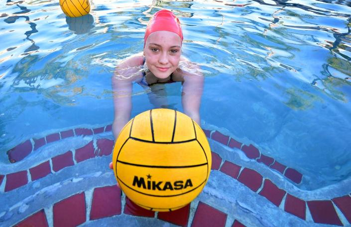 """<span class=""""caption"""">High school water polo player Cami Rowan gets to work out in the home pool in Corona, Calif. on Feb. 18, 2021.</span> <span class=""""attribution""""><a class=""""link rapid-noclick-resp"""" href=""""https://www.gettyimages.com/detail/news-photo/high-school-water-polo-player-cami-rowan-gets-to-work-out-news-photo/1231256506?adppopup=true"""" rel=""""nofollow noopener"""" target=""""_blank"""" data-ylk=""""slk:Frederic J. Brown/AFP/Getty images"""">Frederic J. Brown/AFP/Getty images</a></span>"""