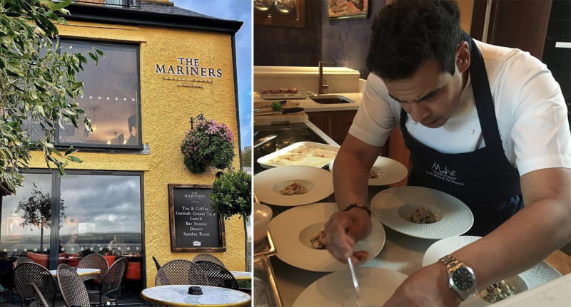 The Mariners pub where 27 people failed to show (left), and Paul Ainsworth cooking in the kitchen (right). Source: Instagram/Paul Ainsworth