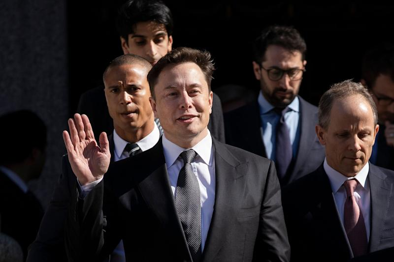 NEW YORK, NY - APRIL 4: Tesla CEO Elon Musk exits federal court, April 4, 2019 in New York City. A federal judge heard oral arguments this afternoon in a lawsuit brought by the U.S. Securities and Exchange Commission (SEC) that seeks to hold Musk in contempt for violating a settlement deal. (Photo by Drew Angerer/Getty Images)