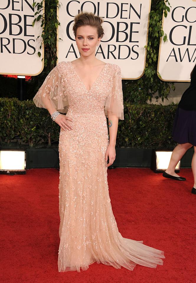 """<a href=""""http://movies.yahoo.com/movie/contributor/1800022348"""">Scarlett Johansson</a> attends the 68th Annual Golden Globe Awards in Beverly Hills, CA on January 16, 2011."""