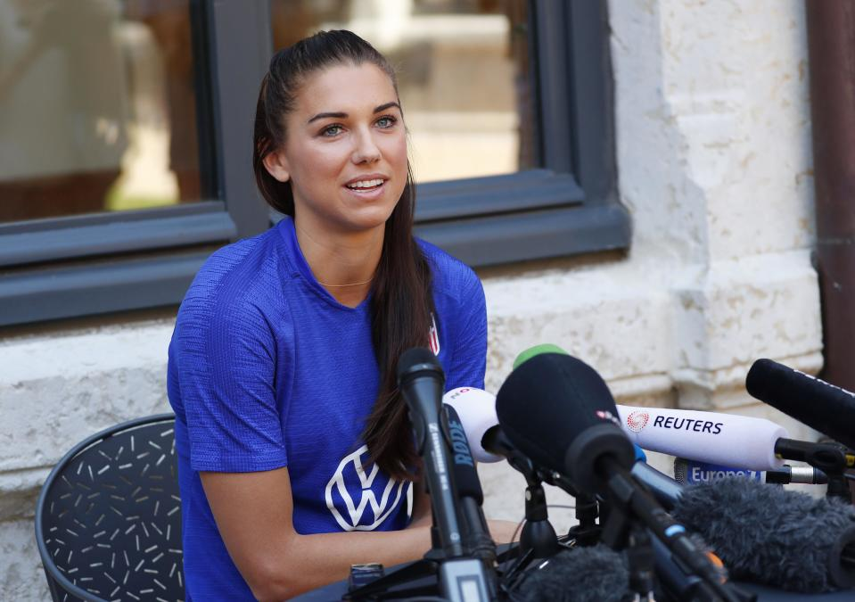 July 5, 2019; Lyon, FRA; United States forward Alex Morgan answers questions during a Team USA press conference in the FIFA Women's World Cup France 2019 at Fourvière Hotel. Mandatory Credit: Michael Chow-USA TODAY Sports