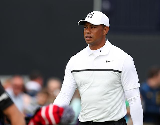 "<a class=""link rapid-noclick-resp"" href=""/pga/players/147/"" data-ylk=""slk:Tiger Woods"">Tiger Woods</a> confirmed his entrance in the FedEx Cup playoff events, setting up a potential redux of last year's Tour championship. (Photo by David Blunsden/Action Plus via Getty Images)"