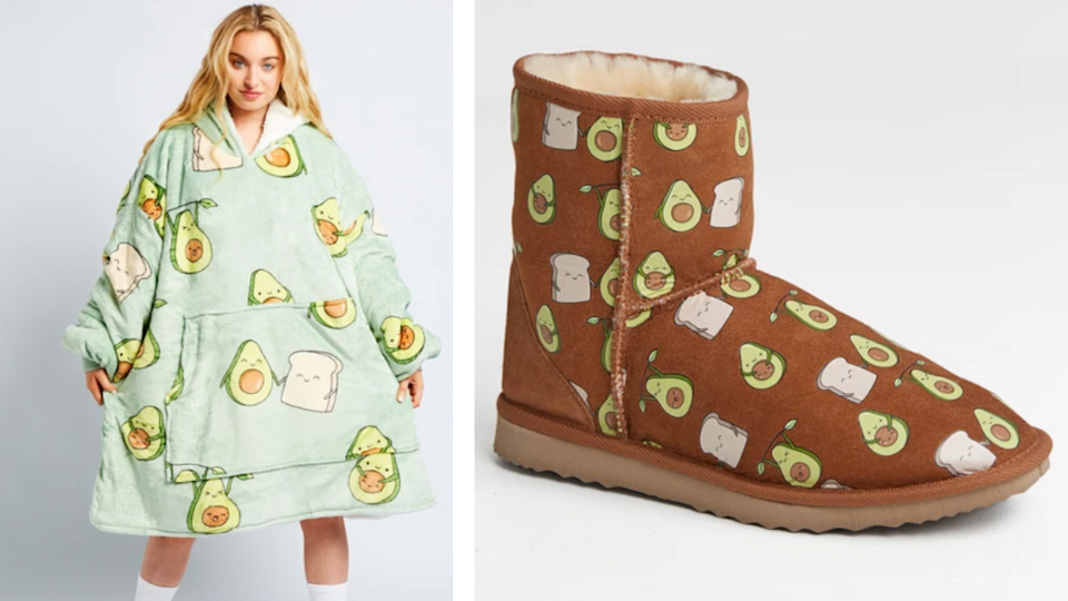 model wearing an avocado Oodie next to a matching pair of avocado Uggs