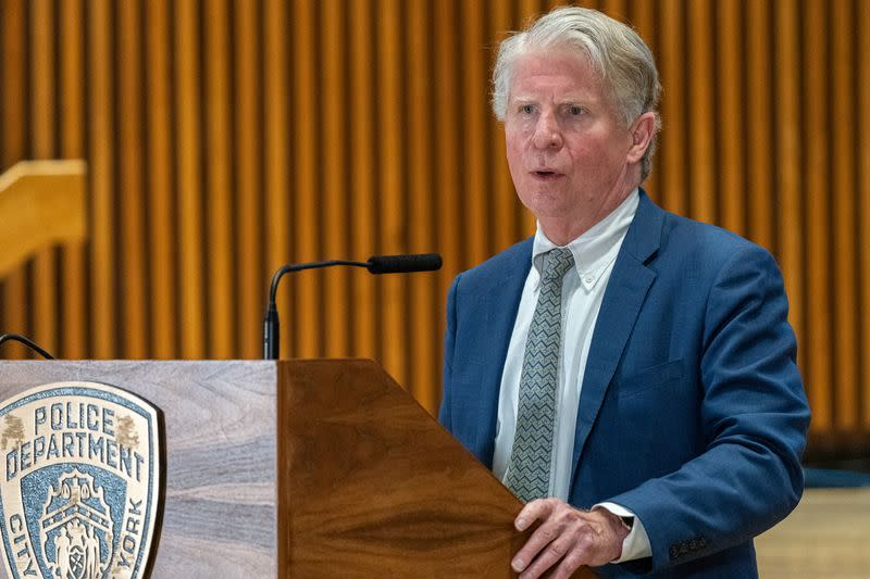 Manhattan district Attorney Cyrus Vance Jr. speaks at a news conference announcing charges against Brandon Elliot, following his arrest for attacking an elderly Asian woman, in New York