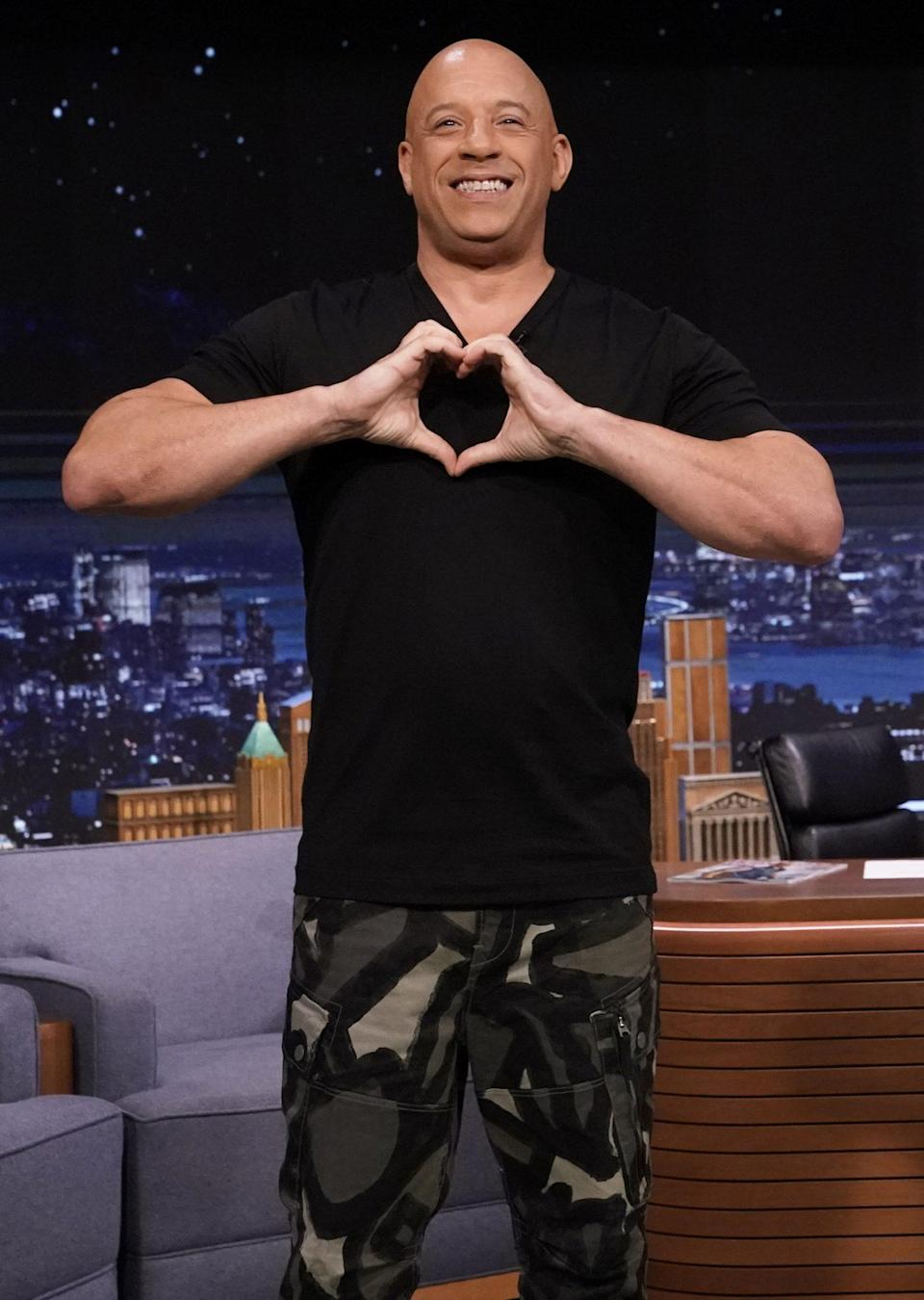 <p>Vin Diesel spreads love during his guest appearance on <em>The Tonight Show Starring Jimmy Fallon</em> on June 22 in N.Y.C.</p>
