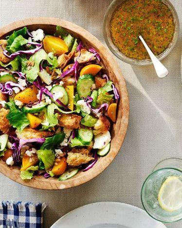 """<p>We're pretty sure there isn't a more appropriate salad to place on your fall menu than one that's packed with cold-weather vegetables. This one features beets, cauliflower, cucumber, and more.</p><p><strong><a href=""""https://www.countryliving.com/food-drinks/recipes/a37296/winter-chopped-salad/"""" rel=""""nofollow noopener"""" target=""""_blank"""" data-ylk=""""slk:Get the recipe"""" class=""""link rapid-noclick-resp"""">Get the recipe</a>.</strong> </p>"""