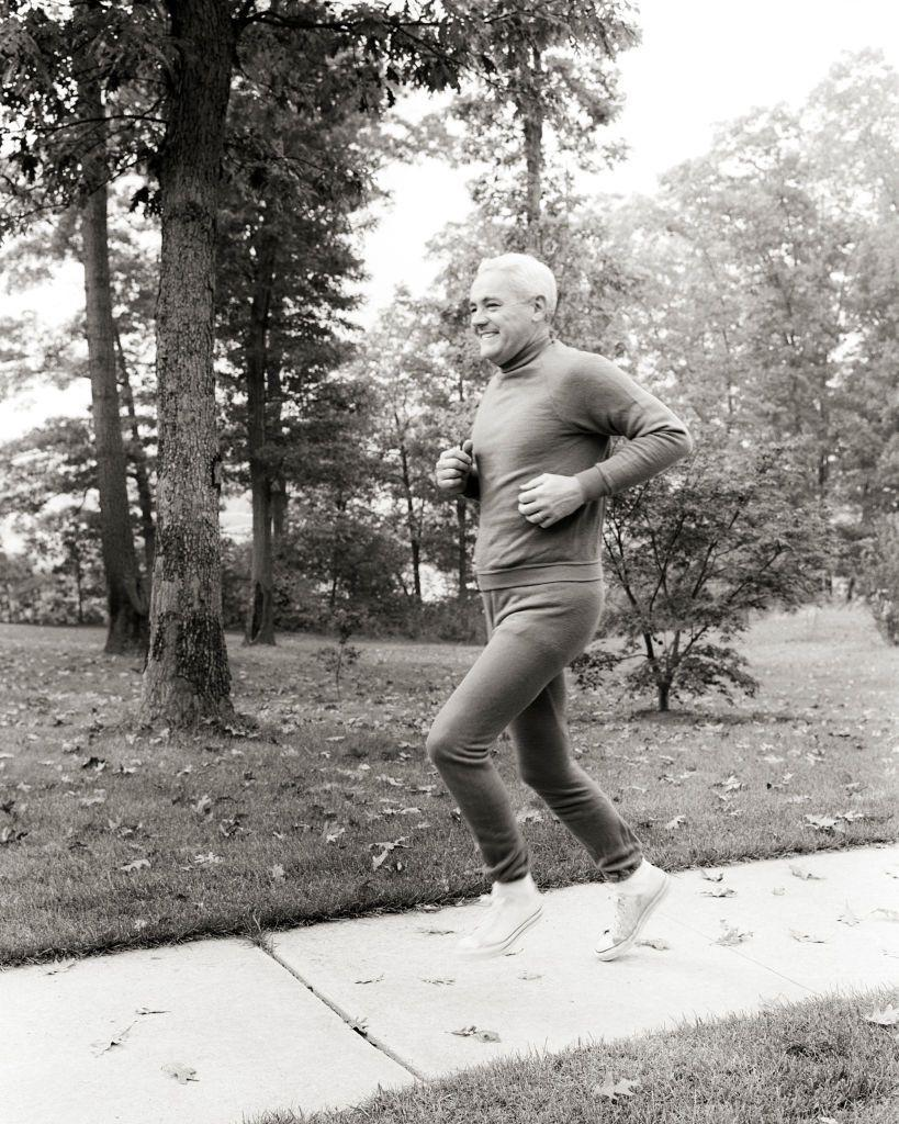 <p>This was the look in the 1970s—a grey matching sweatsuit. And, yes, this man is running in a pair of Converse All Stars. Our feet hurt just looking at him.</p>