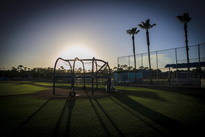 <p>The sun begins to set at the New York Mets spring training facility in Port St. Lucie, Fla., Friday, Feb 24, 2017. (Gordon Donovan/Yahoo Sports) </p>