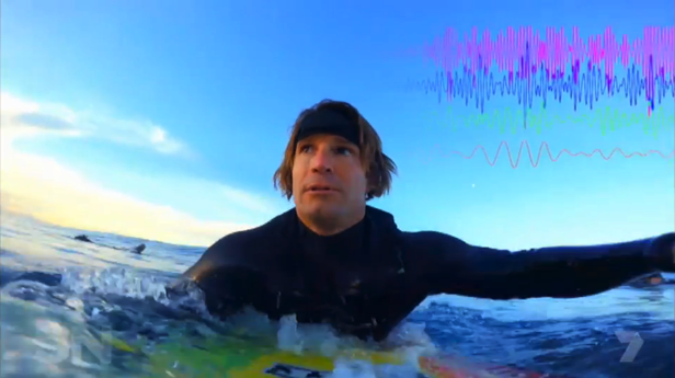 Denham with the 'brain station' during a surf session