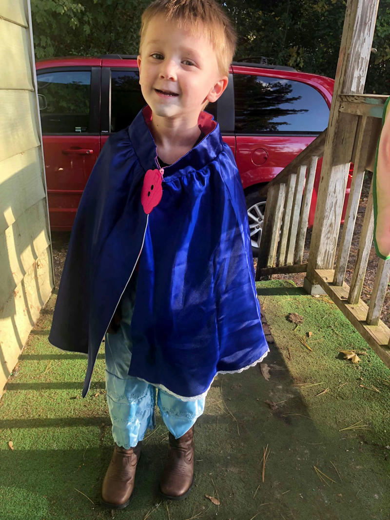 Since he was a little boy Jameson, now three, has always gravitated towards his sister's dresses and princess shoes when it comes to dressing himself. [Photo: Caters]