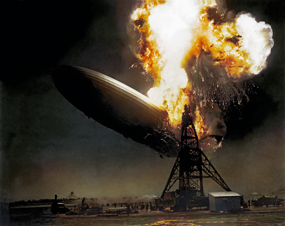 <p>The Hindenburg German airship catches fire and crashes as it approaches a landing station in New Jersery in 1937. (Head of Zeus Books) </p>