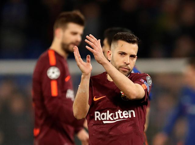 Soccer Football - Champions League Round of 16 First Leg - Chelsea vs FC Barcelona - Stamford Bridge, London, Britain - February 20, 2018 Barcelona's Jordi Alba applauds fans after the match Action Images via Reuters/Andrew Boyers
