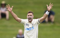 New Zealand's Tim Southee appeals for a West Indies wicket during play on day three of their first cricket test in Hamilton, New Zealand, Saturday, Dec. 5, 2020. (Andrew Cornaga/Photosport via AP)