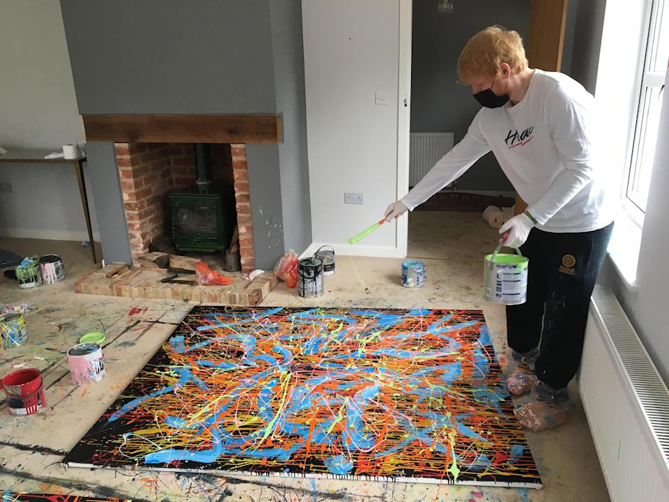 Ed Sheeran works on a separate painting. His artwork 'Dab 2 2020' is to be sold at a charity auction. (Ed Sheeran: Made In Suffolk Legacy Auction/ PA)