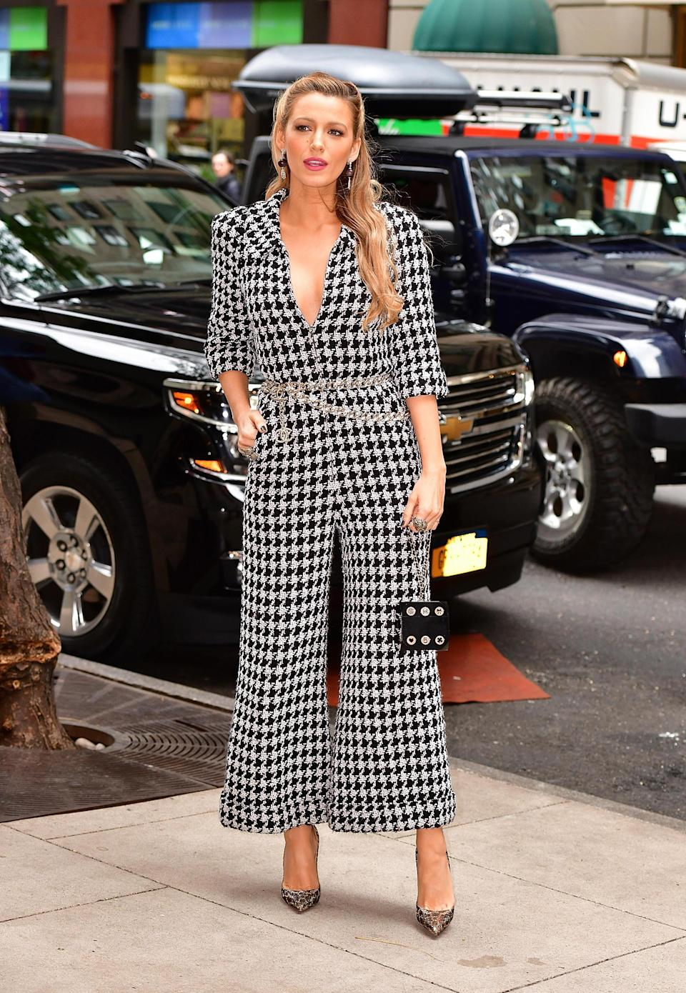 <p>For Blake's seven outfits in a day marathon, a stand-out look came courtesy of Chanel and this houndstooth jumpsuit.<br><i>[Photo: Getty]</i> </p>