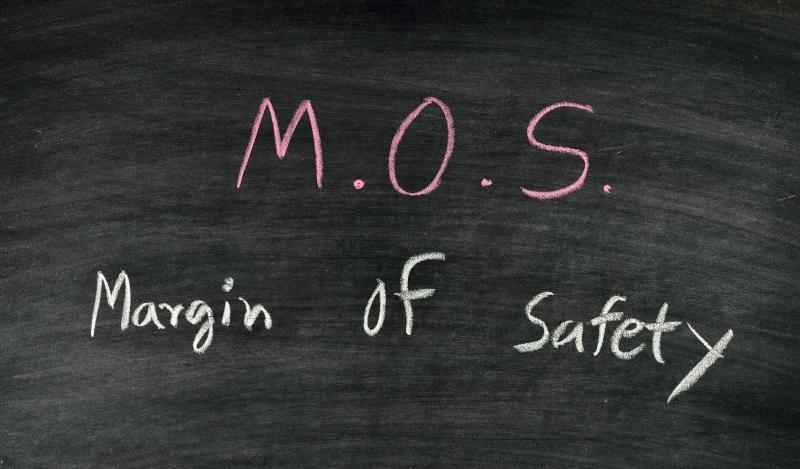 The words margin of safety written on a chalkboard.