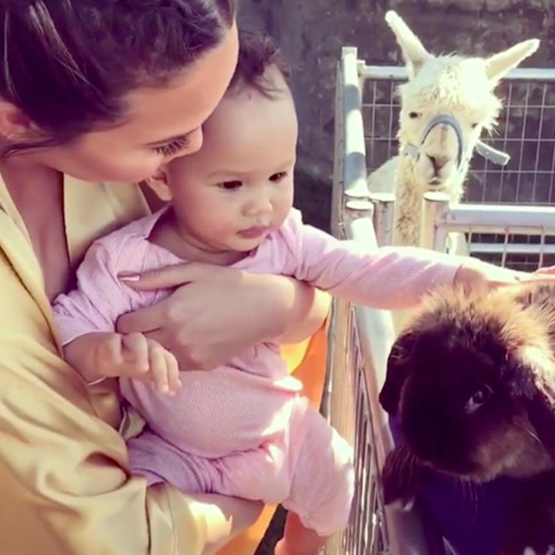 Chrissy Teigen Introduces Baby Luna to a Furry Bunny Ahead of Easter