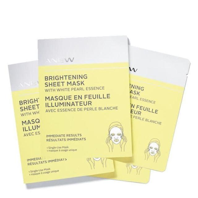 Avon's Anew sheet mask with white pearl essence leaves your skin feeling dewy and bright -- perfect for freshening up tired skin after a night out. <br><br><strong><span>Get a 4-pack of Avon's Anew Brightening Sheet Mask for $10</span></strong>