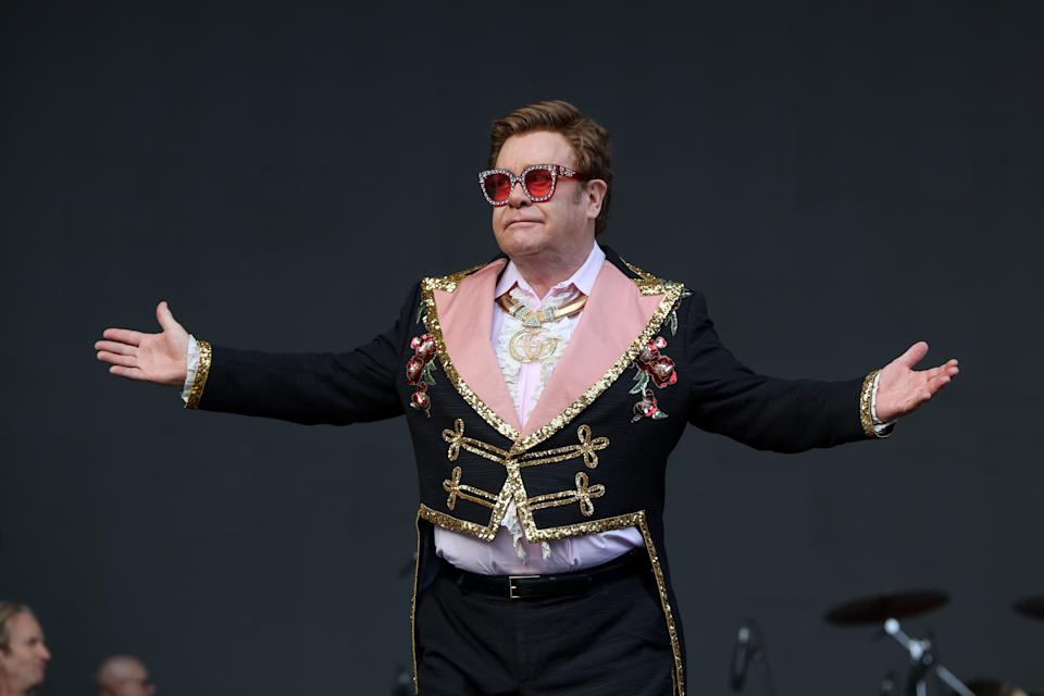 Elton John performs at Mt Smart Stadium on February 16, 2020 in Auckland, New Zealand. (Photo by Dave Simpson/WireImage)