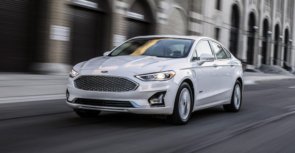 This photo provided by Ford shows the 2020 Ford Fusion, a well-rounded midsize sedan with considerable Fourth of July discounts. It offers great value given its size and healthy features list. (Courtesy of Ford Motor Co. via AP)