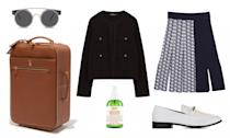 <p>Travel in style with a chic luggage like a suitcase from Mark Cross and classy feminine attire for all the nights you will be strolling down the vibrant Roman streets. And don't forget your face mist for the long flight ahead! </p>