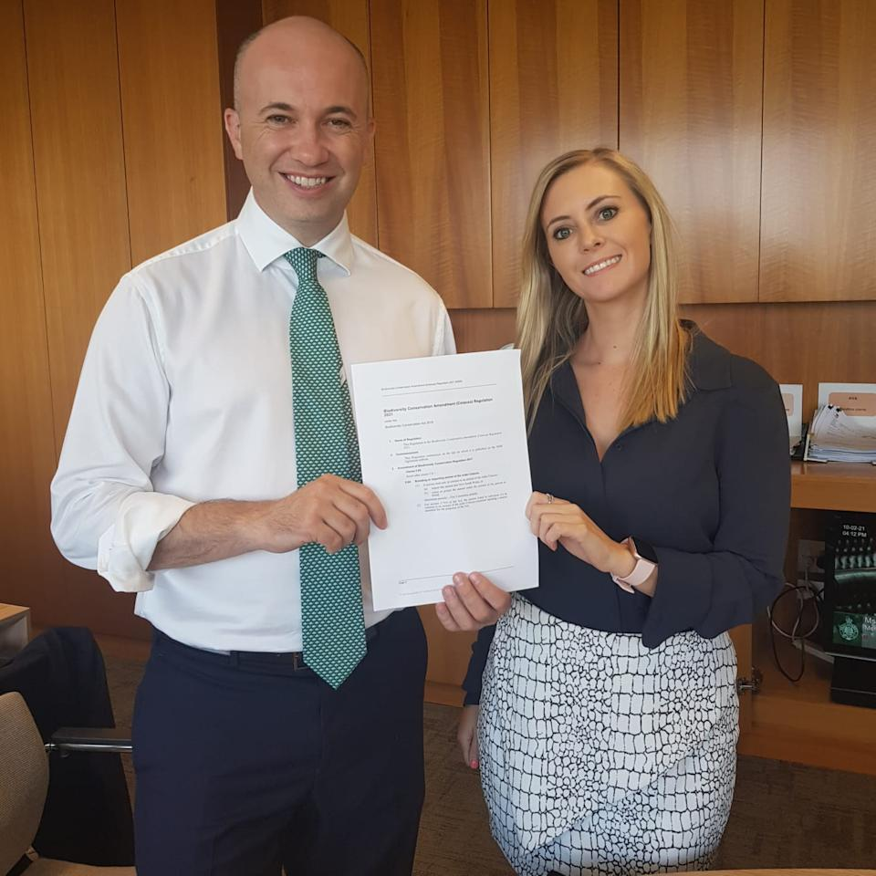 Emma Hurst (right) has welcomed the rule change which was introduced by Matt Kean (left). Source: Supplied