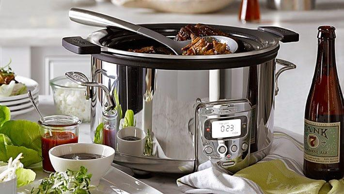 Simmer delicious soups, stews and more in this heavy-duty slow cooker.