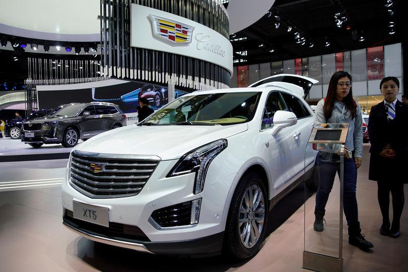 Cadillac XT5 of GM is presented during the media day for Shanghai auto show