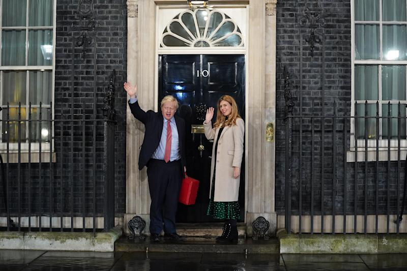 The couple entering Downing Street as the Conservatives celebrate a sweeping election victory on December 13, 2019. (Getty Images)