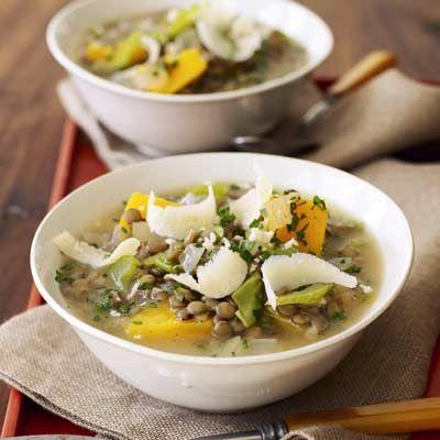 """<p>Rich in vitamins A and C, butternut squash adds a subtle sweetness to this hearty, slow-cooker lentil stew.</p><p><strong><a href=""""https://www.countryliving.com/food-drinks/recipes/a14208/lentil-stew-butternut-squash-recipes/"""" rel=""""nofollow noopener"""" target=""""_blank"""" data-ylk=""""slk:Get the recipe"""" class=""""link rapid-noclick-resp"""">Get the recipe</a>.</strong></p><p><a class=""""link rapid-noclick-resp"""" href=""""https://www.amazon.com/Crock-Pot-redonda-manual-cuartos-Stainless/dp/B003OAJGJO/?tag=syn-yahoo-20&ascsubtag=%5Bartid%7C10050.g.32934702%5Bsrc%7Cyahoo-us"""" rel=""""nofollow noopener"""" target=""""_blank"""" data-ylk=""""slk:SHOP SLOW COOKERS""""><strong>SHOP SLOW COOKERS</strong></a></p>"""
