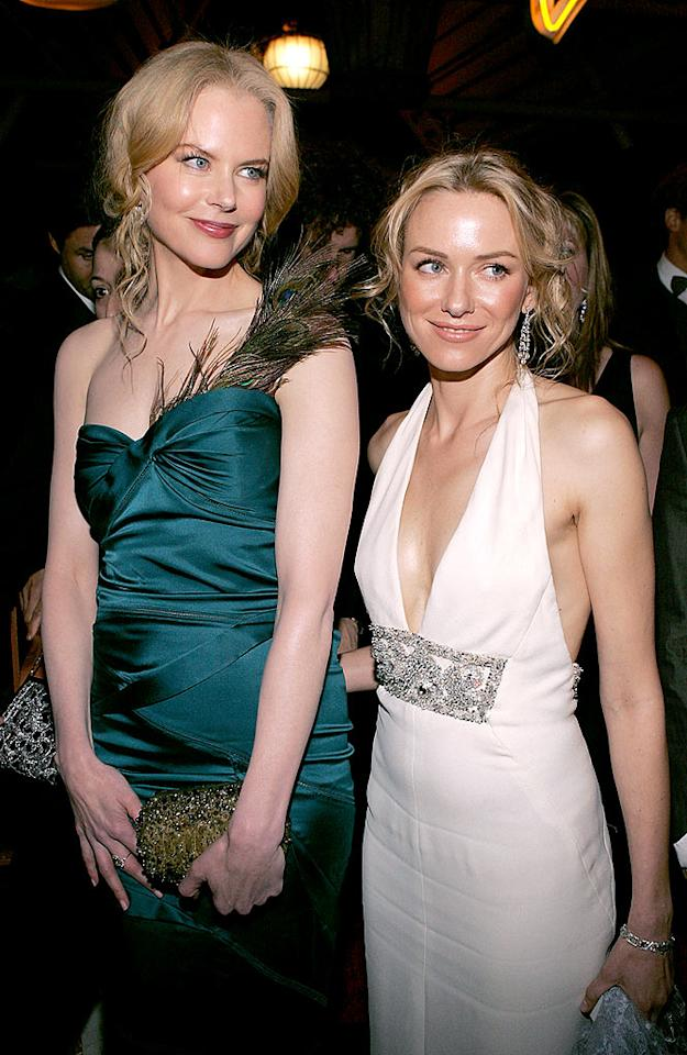 "Fellow Aussies Nicole Kidman and Naomi Watts first met at a modeling call in Australia. While neither of them got the gig, they did wind up with a friend for life. Vince Bucci/<a href=""http://www.gettyimages.com/"" target=""new"">GettyImages.com</a> - January 16, 2005"