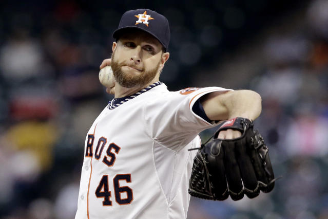 Houston Astros' Scott Feldman delivers a pitch against the Kansas City Royals in the first inning of a baseball game on Thursday, April 17, 2014, in Houston. (AP Photo/Pat Sullivan)