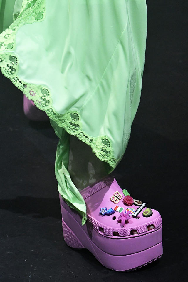 <p><i>Pink platform Croc shoes from the SS18 Balenciaga collection. (Photo: Getty) </i></p>