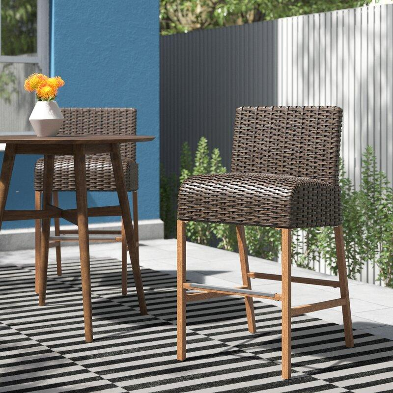 Woodstock 28.5'' Patio Bar Stool (Set of 2). Image via Wayfair.