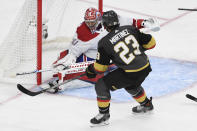 Montreal Canadiens goaltender Carey Price (31) deflects a shot by Vegas Golden Knights defenseman Alec Martinez (23) during the second period in Game 2 of an NHL hockey Stanley Cup semifinal playoff series, Wednesday, June 16, 2021, in Las Vegas. (AP Photo/David Becker)