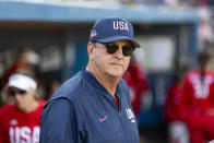 FILE - Team USA's head coach Ken Eriksen watches his team take to the field for the fifth inning against Team Alliance at Momentum Bank Ballpark in Midland, Texas, in this Saturday, June 13, 2021, file photo.Eriksen predicts tight competition in softball as the sport returns to the Olympics for the first time since 2008. (Jacob Ford/Odessa American via AP, File)