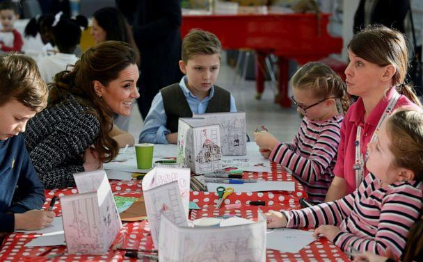 PHOTO: Britain's Kate, Duchess of Cambridge, visits a creative workshop run by the National Portrait Gallery's Hospital Programme, at Evelina London Children's Hospital, in London, Jan. 28, 2020. (Toby Melville/Pool via AP)