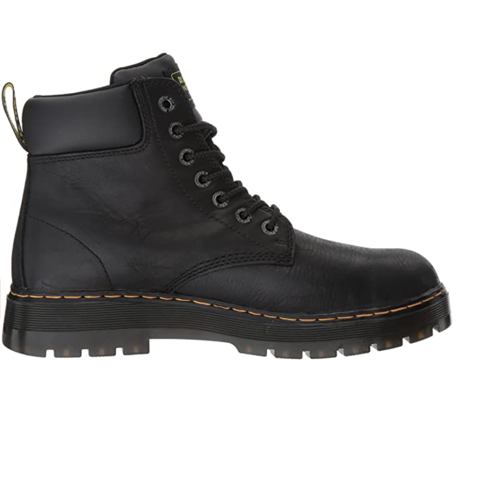 """<p><strong>Dr. Martens</strong></p><p>zappos.com</p><p><strong>$99.91</strong></p><p><a href=""""https://go.redirectingat.com?id=74968X1596630&url=https%3A%2F%2Fwww.zappos.com%2Fp%2Fdr-martens-work-winch-steel-toe-black-wyoming%2Fproduct%2F8468209&sref=https%3A%2F%2Fwww.esquire.com%2Fstyle%2Fmens-fashion%2Fg12486892%2Fbest-work-boots-men%2F"""" rel=""""nofollow noopener"""" target=""""_blank"""" data-ylk=""""slk:Shop Now"""" class=""""link rapid-noclick-resp"""">Shop Now</a></p><p>You likely know Dr. Martens for its iconic 1460 boot—the one everyone from old-school punks to modern day cool kids has adopted as part of their uniform. But the brand also has a thriving workwear division, making shoes that are better suited to a job site than a night out. This pair features steel toes for protection, plus a padded tongue and collar for comfort.</p>"""
