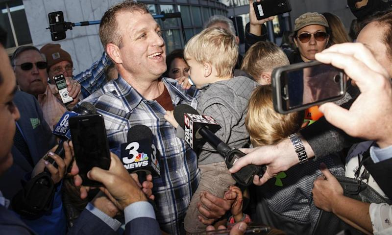 Ammon Bundy after being released from custody on 30 November 2017. Bundy led an armed takeover of public property to protest American land-use regulations in Oregon in 2016.